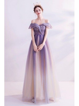Purple Bling Fabric Aline Tulle Prom Dress With Ruffled Off Shoulder