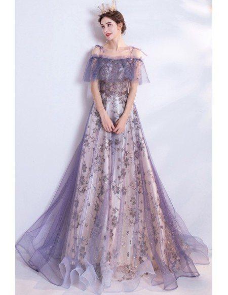 Purple Tulle Bling Flowers Pattern Fairy Prom Dress For Teens