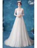 Illusion Round Neck Lace Aline Flowy Tulle Wedding Dress Sleeveless