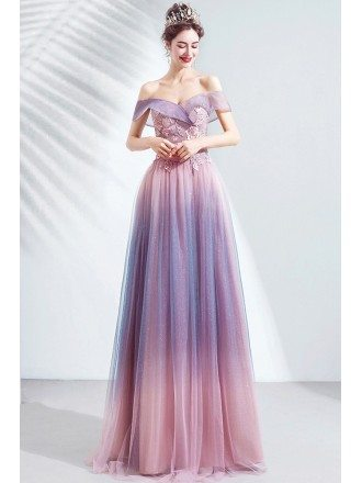 Gorgeous Purple Pink Off Shoulder Ombre Prom Dress With Flowers For Teens