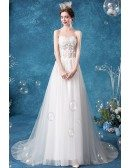Fairy Beaded Appliques Aline Wedding Dress With Tulle