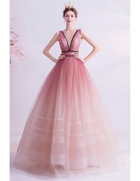 Illusion Deep Vneck Ballgown Prom Dress Puffy With Laceup