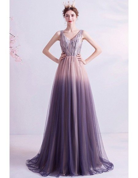 Fantasy Ombre Purple Tulle Prom Dress Vneck With Sequins