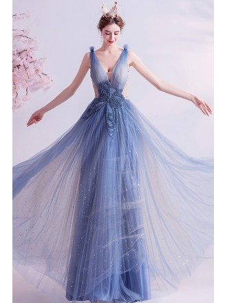 Fairy Blue Vneck Aline Long Tulle Prom Dress With Bling Beadings