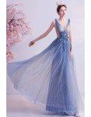 Fairy Blue Vneck Aline Long Tulle Prom Dress With Bling Beadings
