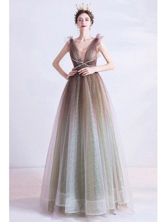 Ombre Brown Illusion Vneck Ballgown Prom Dress For Parties