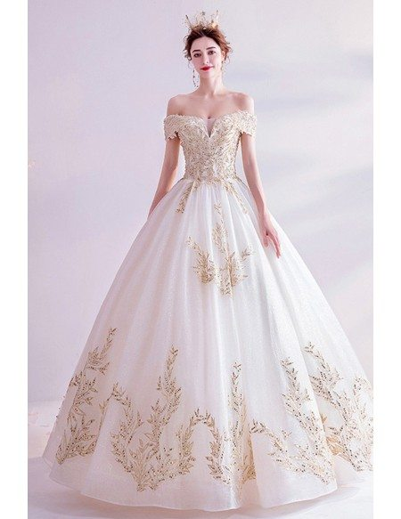 Classical Big Ballgown Light Champagne Wedding Prom Dress With Bling Patterns