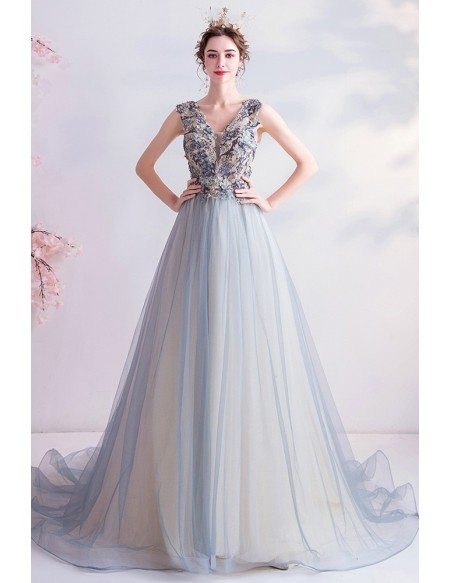 Gorgeous Dusty Light Blue Ballgown Prom Dress With Beadings Open Back