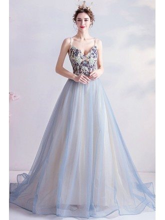 Light Blue Backless Ballgown Prom Dress With Beaded Straps