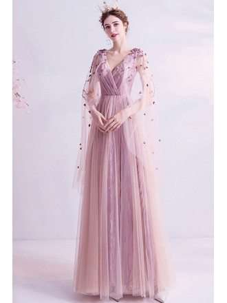 Fairy Pink Tulle Cape Sleeves Aline Long Prom Dress With Petals