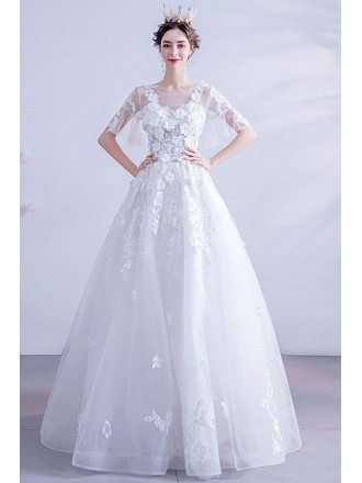 Modest Sheer Neck Flowers Tulle Wedding Dress With Short Sleeves