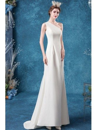 Simple One Shoulder Mermaid Wedding Dress With Slit