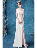 Simple One Shoulder Mermaid Wedding Dress With Slit