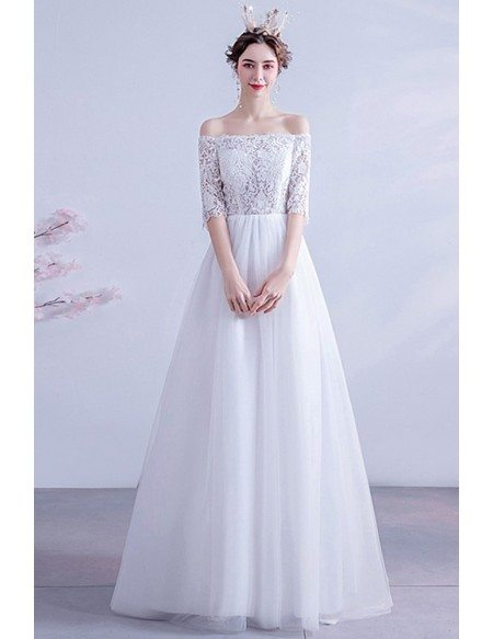 Lace Off Shoulder Aline Long Tulle Wedding Dress With Sleeves