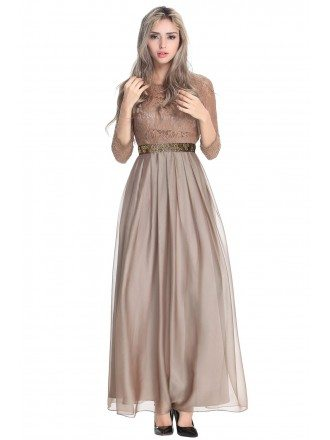 Romantic A-Line Chiffon Lace Dress With Sleeves