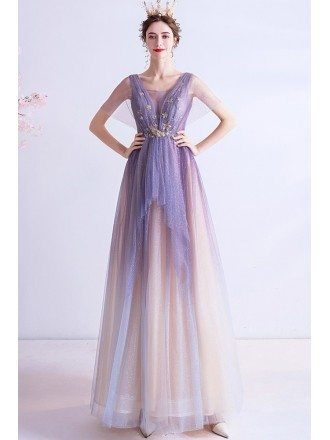 Sparkly Star Sequins Ombre Purple Prom Dress With Cape Sleeves
