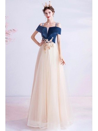 Elegant Blue Velvet With Tulle Aline Formal Dress With Flowers Straps