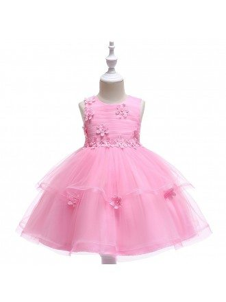 Cute Pink Tulle Girls Prom Dress Ballgown For Children