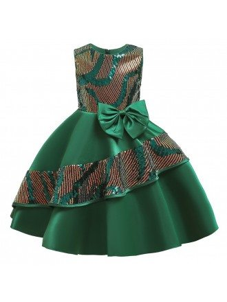 Popular Bling Sequins Satin Party Dress Girls Formal Dress