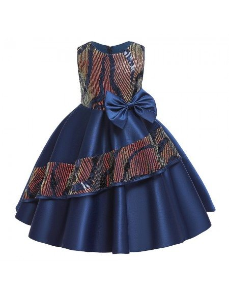 Popular Bling Sequins Satin Party Dress Girls Formal Dress