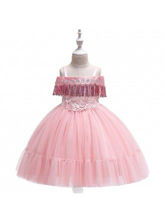 Pink Childrens Day Holiday Party Dress For Girls Ages 4-12