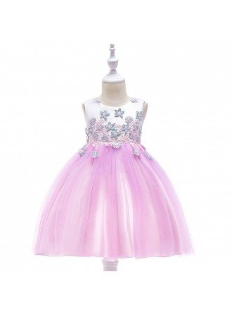 Pink Tulle Short Girl Party Dress With Stars
