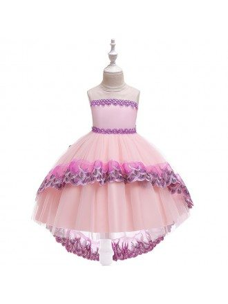 Beautiful Pink Princess High Low Party Dress For Girls 10-12 Years