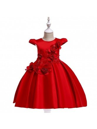 Red Satin Flowers Ballgown Short Party Dress For Girls 4-9 Year
