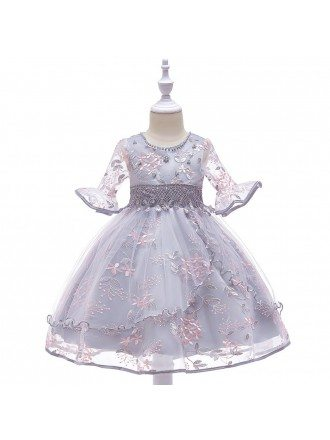 Grey Flare Sleeves Princes Girl Dress For Formal 4-12 Years