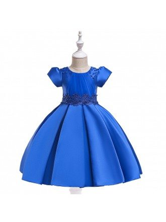 Royal Blue Satin Girls Formal Dress With Bubble Sleeves