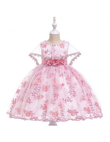 Beautiful Pink Floral Girls Wedding Party Dress With Cape For Children