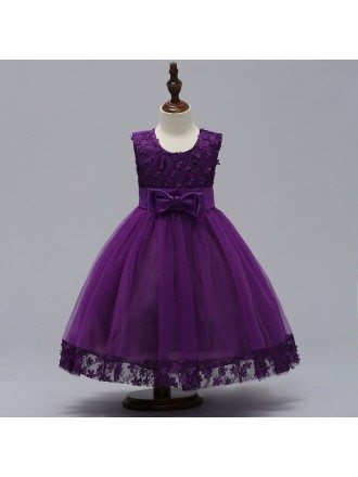 Purple Flowers Tulle Party Dress For Girls Ages 3-12