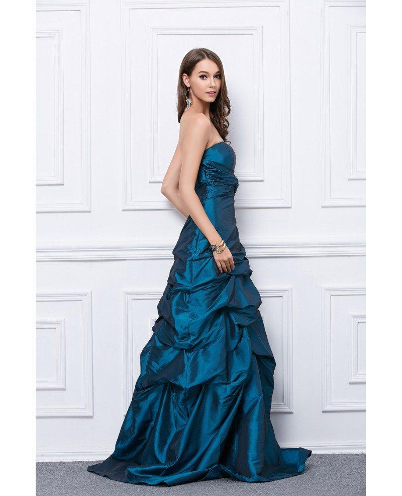 Fancy Ball Gown Strapless Taffeta Floor Length Prom Dress Kc167
