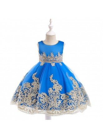Royal Blue Embroidery Pageant Gown For Girls 3-4-5t