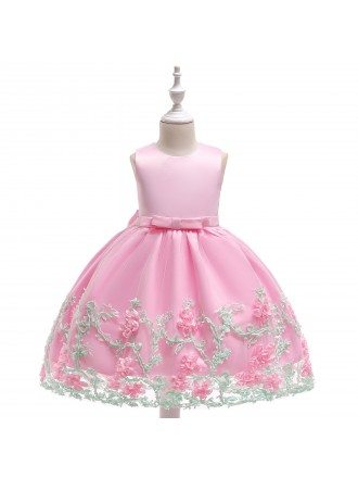 Rustic Pink Flowers Short Party Dress For Girls 5-6-7t