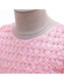Rose Pink Beaded Cute Girl Holiday Dress With Sleeves For Ages 4-12