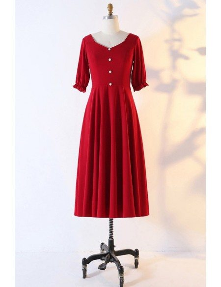 Custom French Retro Tea Length Party Dress With Sleeves Modest High Quality