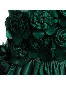 Dark Green Girls Flower Girl Wedding Dress With Flowers For Kids