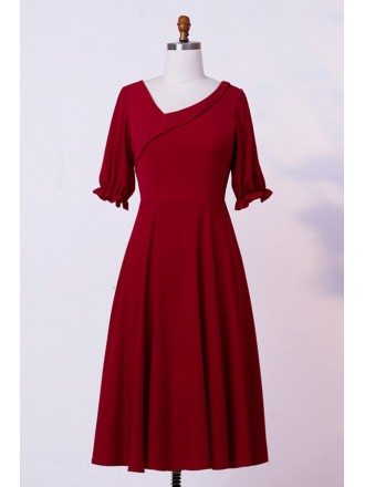 Custom Modest Burgundy Tea Length Wedding Party Dress With Sleeves High Quality