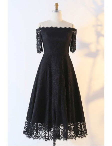 Custom Black Lace Aline Tea Length Party Dress With Off Shoulder High Quality