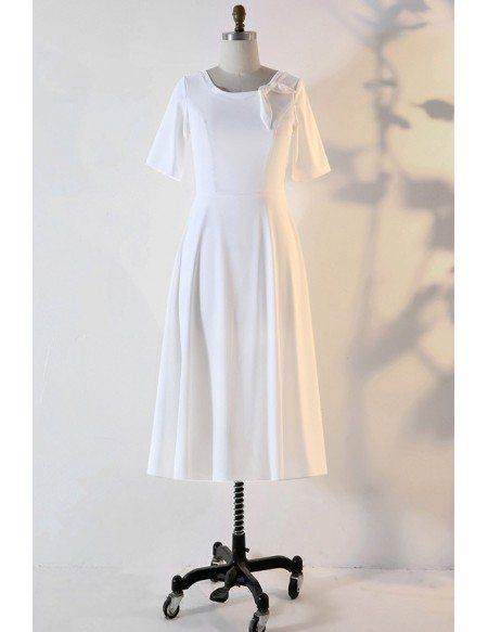 Custom Ivory French Retro Wedding Reception Dress With Sleeves High Quality