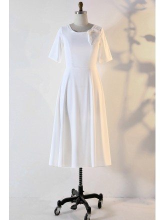 Custom Ivory French Retro Wedding Reception Dress With Sleeves High Quality