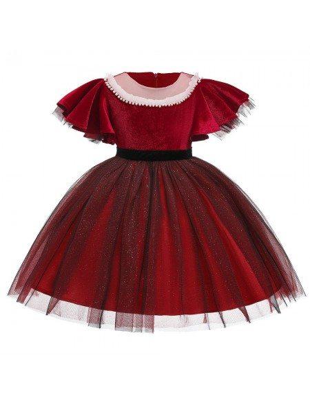Vintage Short Velvet Tulle Party Dress For Girls 7-8-9 Years
