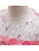 Rose Pink Ballgown Party Dress With Flowers For Children