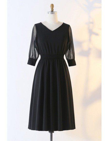 Custom Simple Black Aline Vneck Semi Formal Dress With Sleeves High Quality