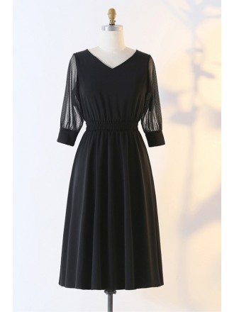 Custom Simple Black Aline Vneck Semi Formal Dress With Sleeves High Quality