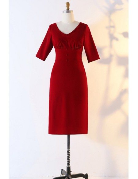 Custom Burgundy Fitted Simple Occasion Dress With Sleeves High Quality