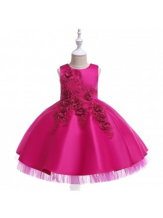 Champagne Beaded Embroidery Flower Girl Party Dress For Children