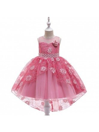 Sequined Lace Champagne Ballgown Flower Girl Dress For Less