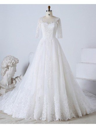 Custom Luxury Beaded Lace Formal Wedding Dress With Half Sleeves High Quality
